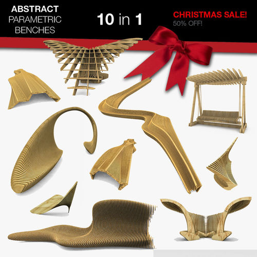 parametric abstract wood benches 10 in 1 collection 3d model max obj 3ds fbx c4d dae 1