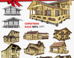 Wood Houses Gazebo And Sauna 10 in 1 Collection 3D