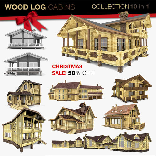 wood houses gazebo and sauna 10 in 1 collection 3d model 3ds fbx c4d 1