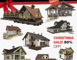 3D Chalet and Alpine Houses 8 in 1 Collection