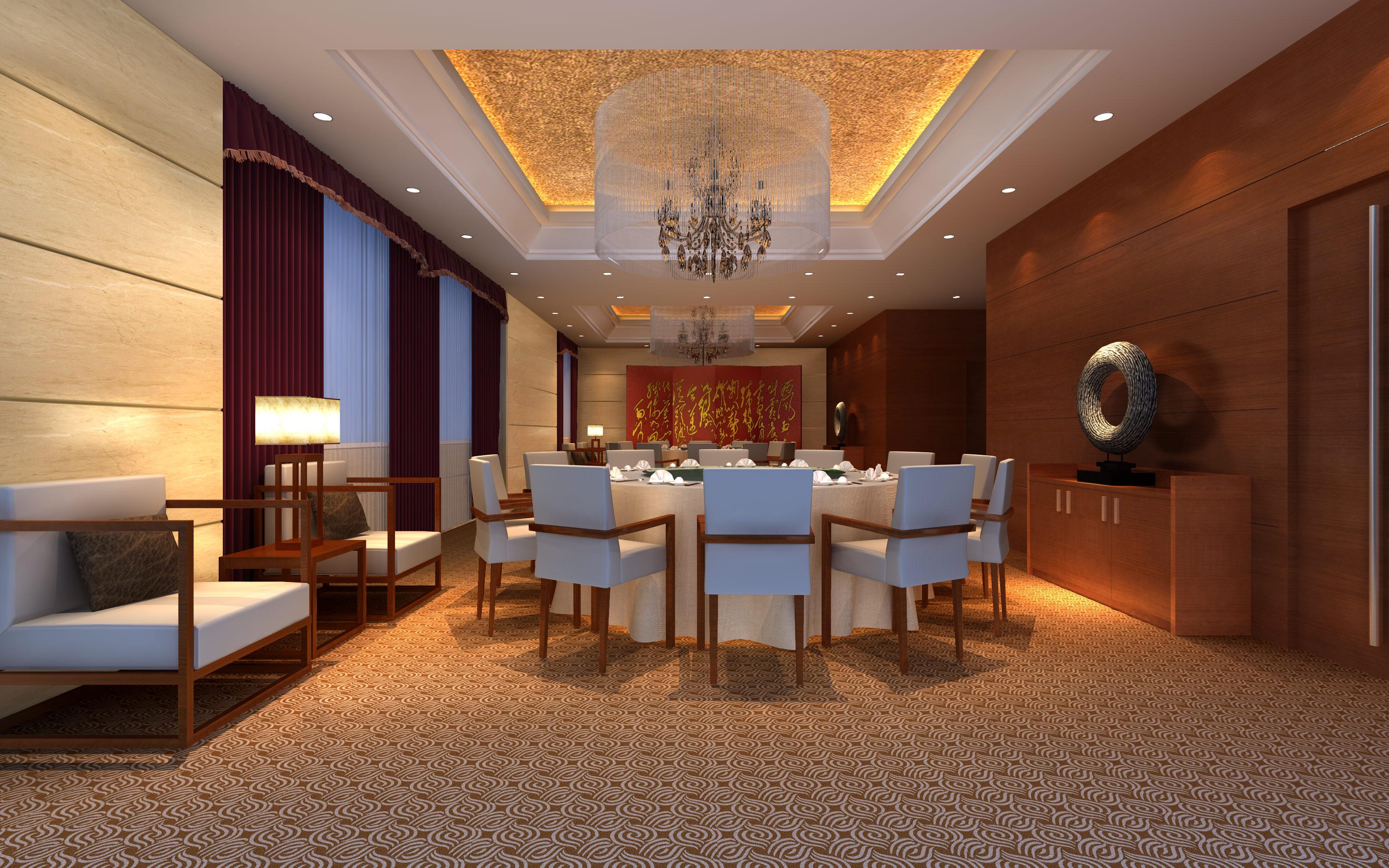 luxury restaurant with exotic carpet 3d model max