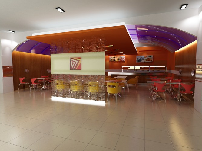 Exotic Restaurant with Artistic Interior3D model