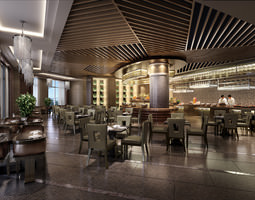 Exotic Restaurant with Modern Interior 3D model