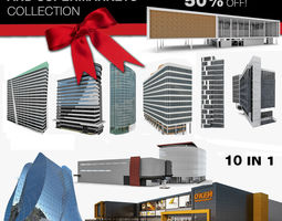3D contemporary City Office Building 10 in 1 Collection