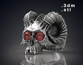 Horned Skull Ring with Gem 3dm Rhinoceros model for 3d 1