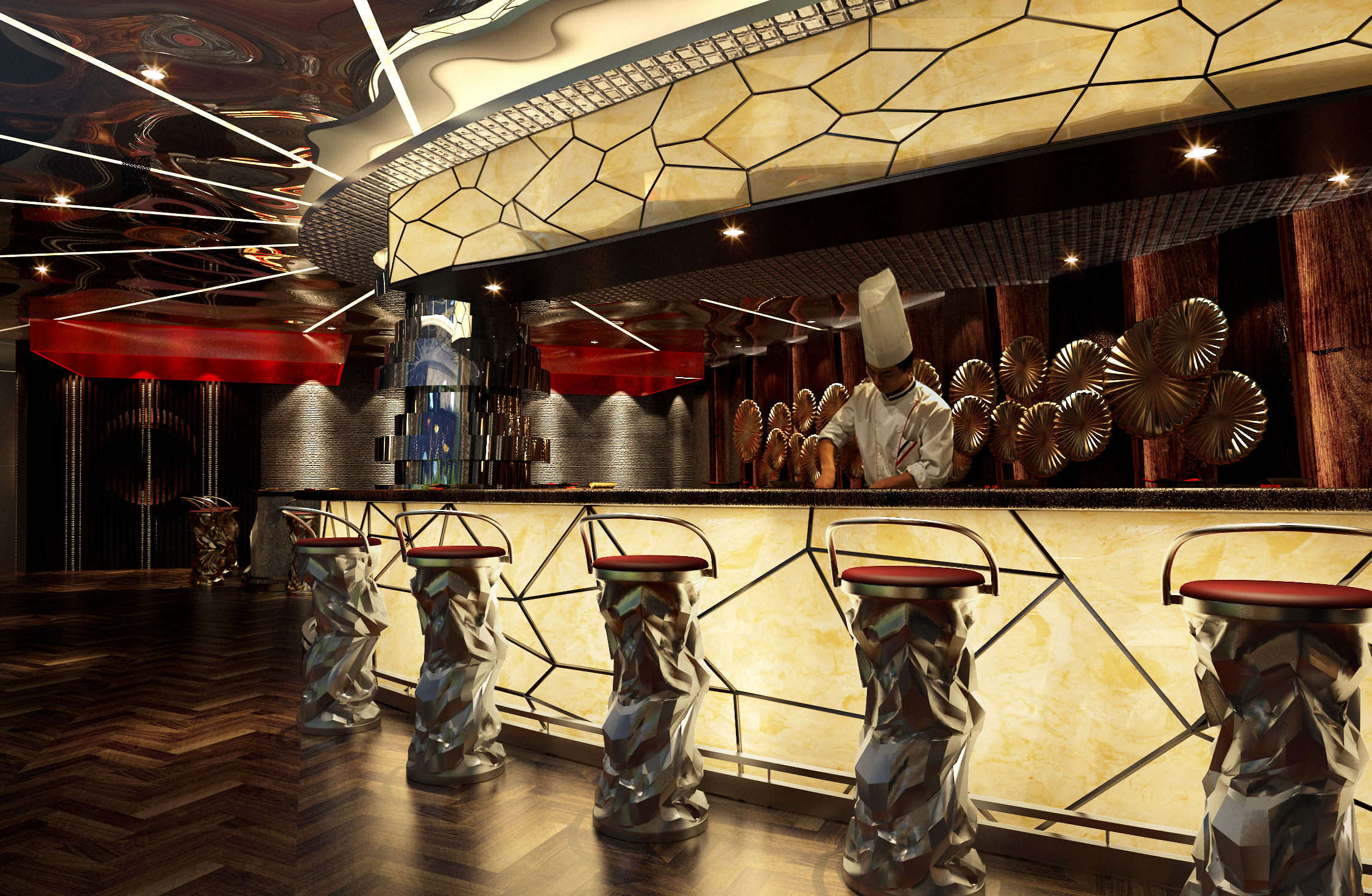 restaurant with high-end wall decor 3d model max