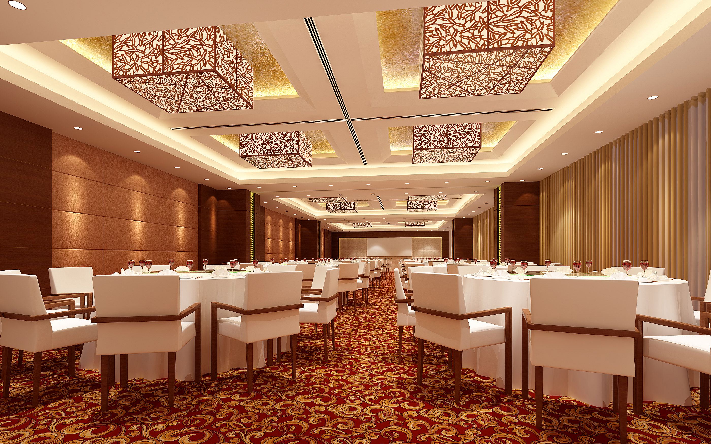 Fully carpeted classy restaurant interior d model max