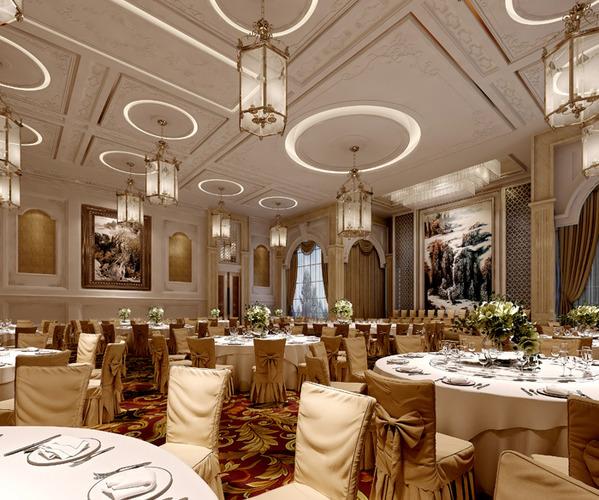 Restaurant classy carpet and ceiling decor d model
