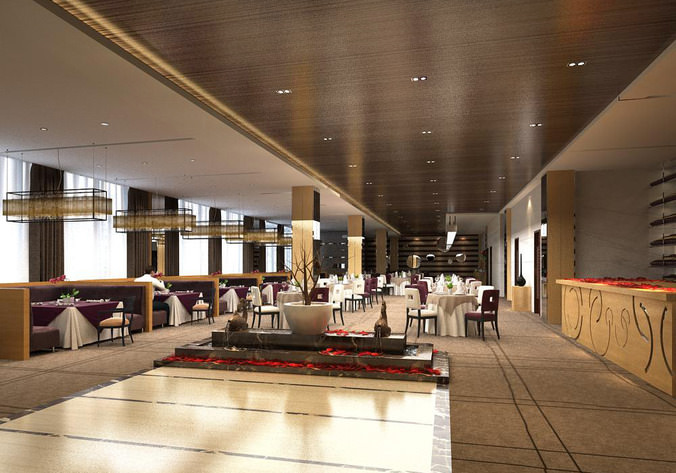 Classy restaurant with partitions d model cgtrader