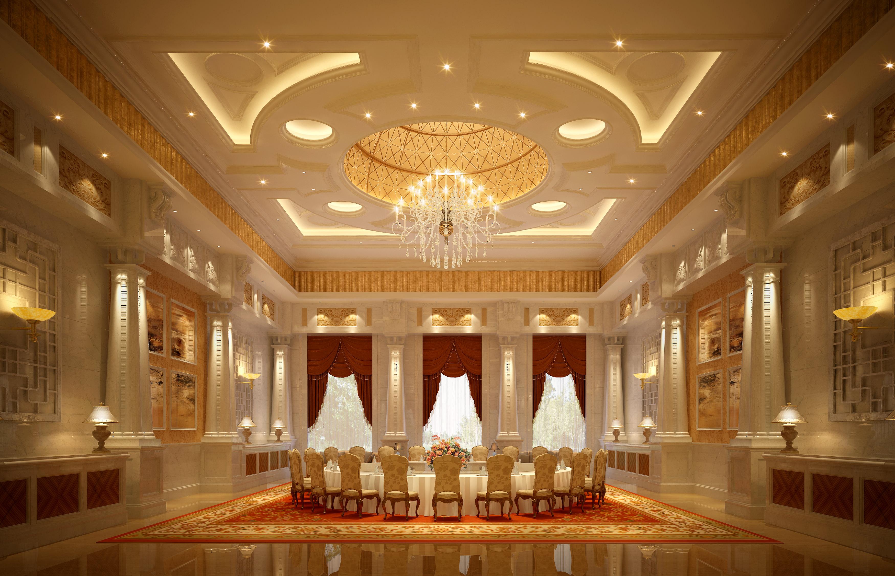 posh restaurant with luxury lighting 3d model max 1 ... & Posh Restaurant with Luxury Lighting 3D   CGTrader azcodes.com