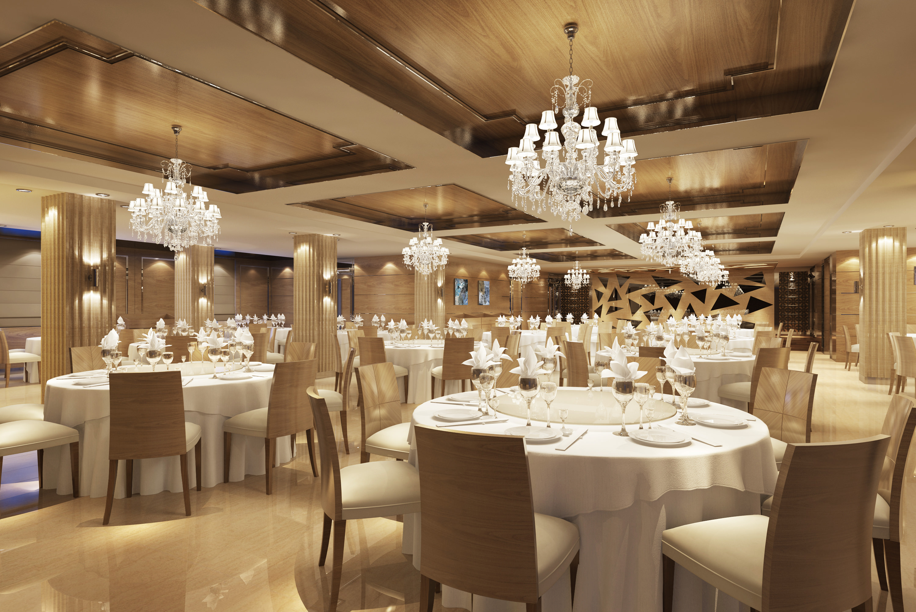 Classy Restaurant With Posh Chandeliers 3d Model Max