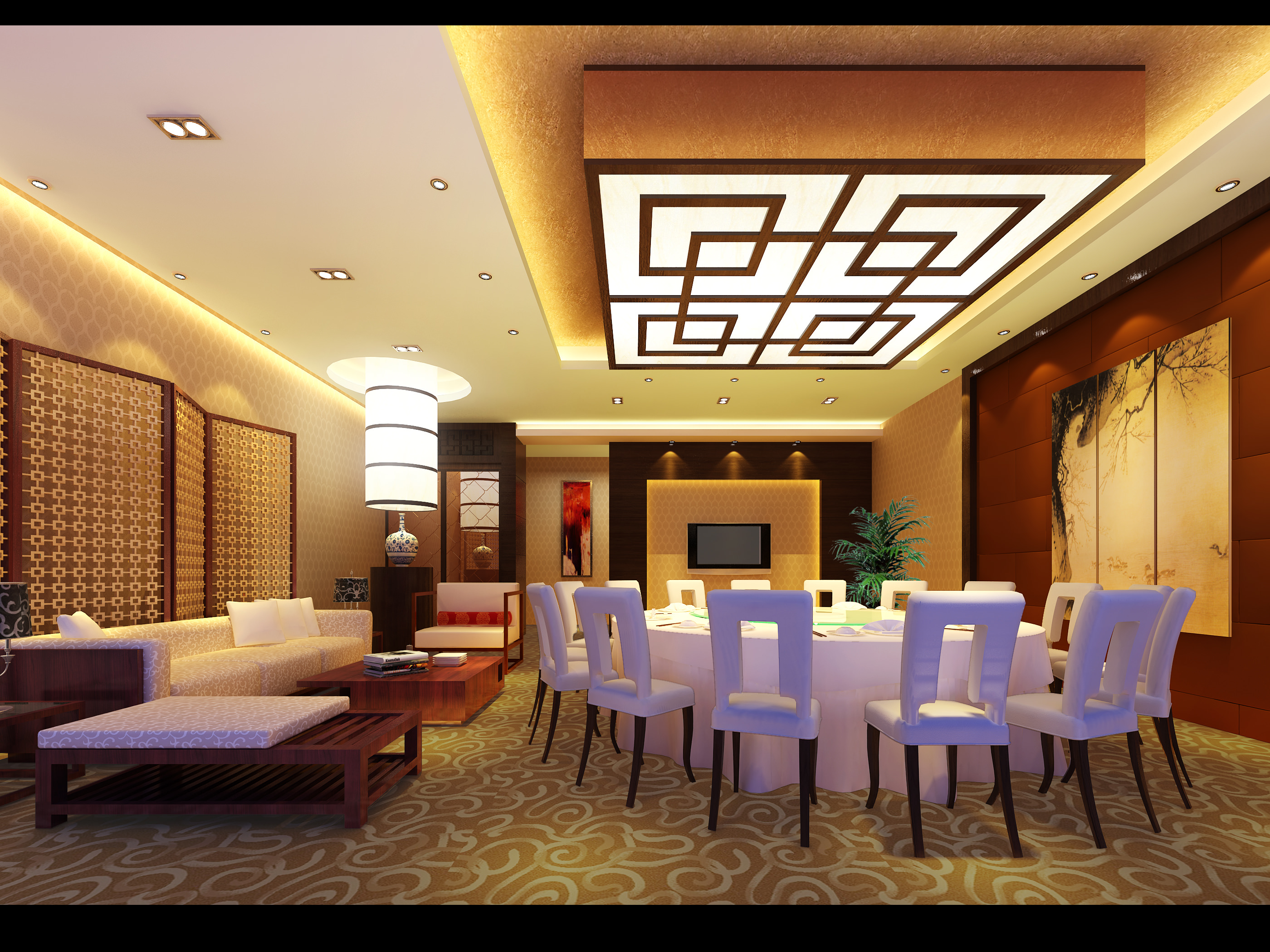 restaurant with posh carpet and ceiling 3d model max