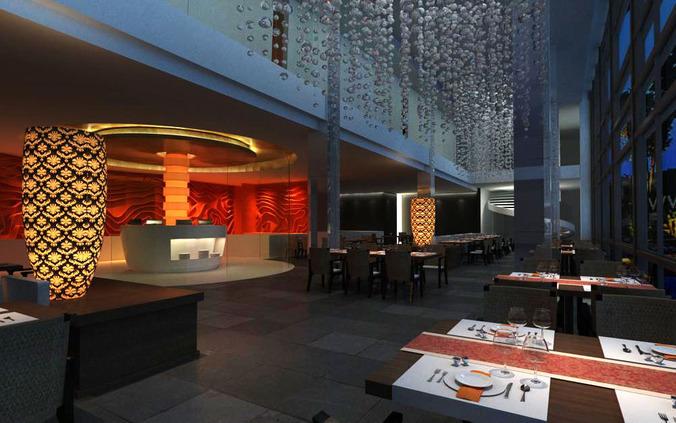 Exquisite Restaurant with Classy Vase3D model