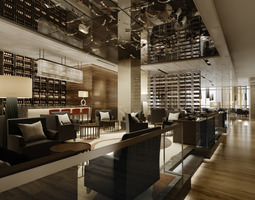 high-end restaurant with classy ceiling decor 3d