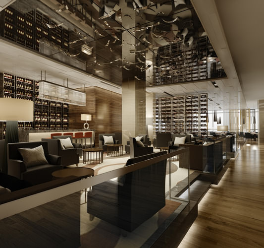 High-end Restaurant with Classy Ceiling Decor3D model