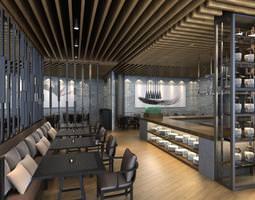 Restaurant with Posh Ceiling Decor 3D