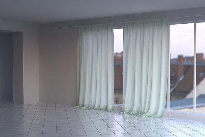 curtain 3d model max obj mtl blend dae lxo lxl 1