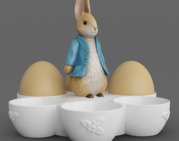 Bunny Six Egg Holder 3D Model