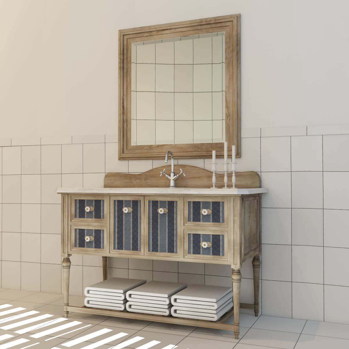 Vintage Bathroom Cabinet 3d Model Max Obj Fbx