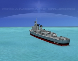 sumner class destroyer  dd733 uss shannon 3d rigged
