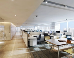 3d model broad office space with large tables