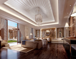 SPA Room with Stylish False Ceiling 3D