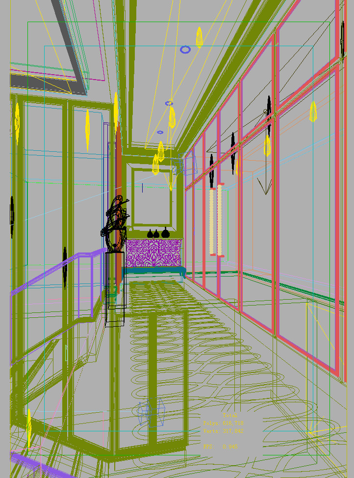 Corridor with partition decor and wall decor 3d model max - Decor corridor ...