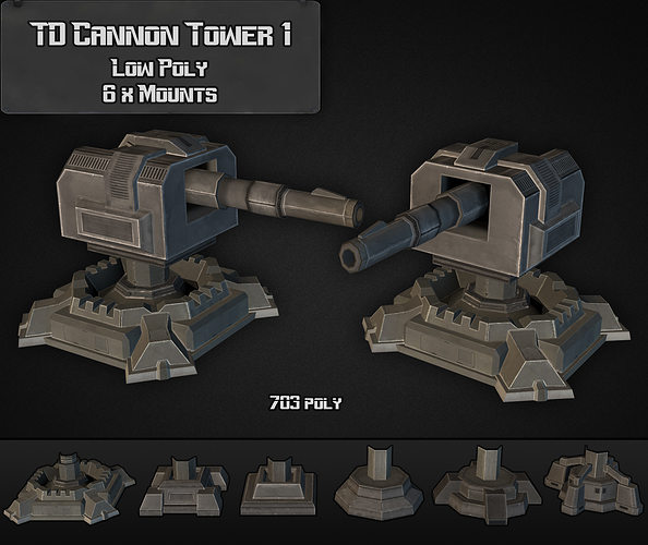 td cannon tower 01 3d model low-poly max obj mtl 3ds fbx dxf dwg 1