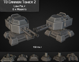 3d asset td cannon tower 02 realtime