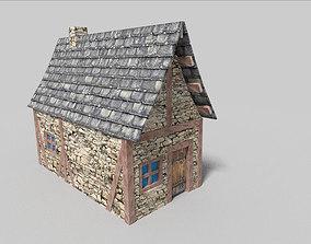 low poly medieval cottage 3D asset