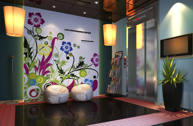 Elevator Lobby With Floral Wall Decor 3d Model Cgtrader