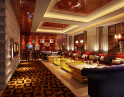 Club with Luxurious Interior 3D