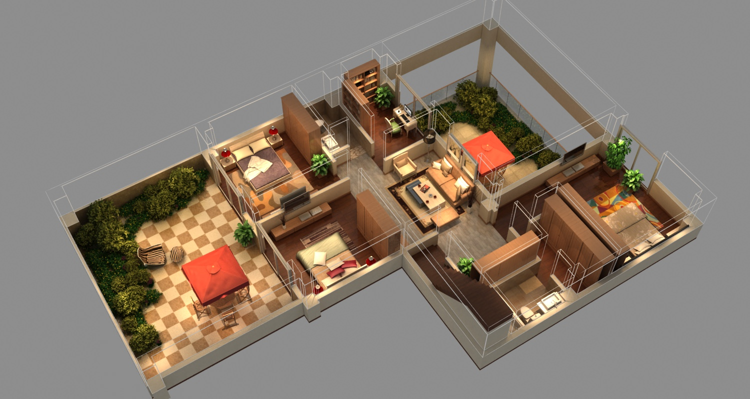 Isometric house 3d model max for 3d decoration models