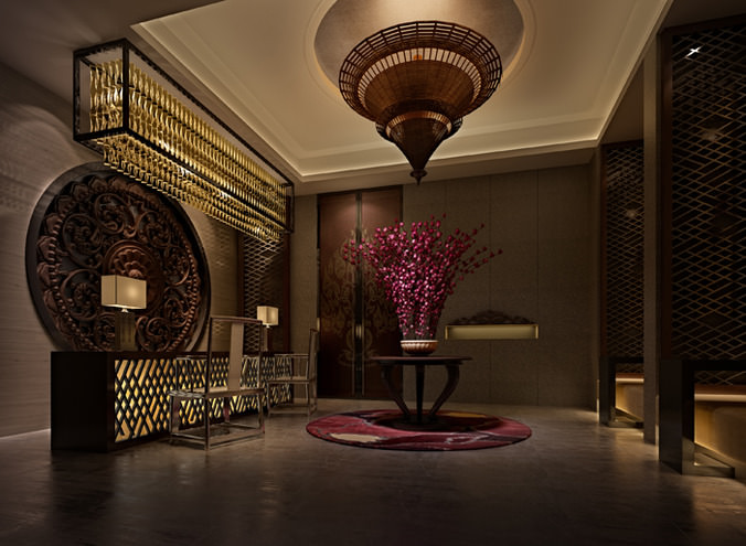 Elevator Space with Aristocratic Interior3D model