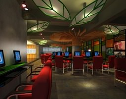 cyber cafe with decor interior 3d