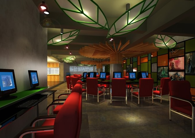 Cyber Cafe With Decor Interior 3d Model Max