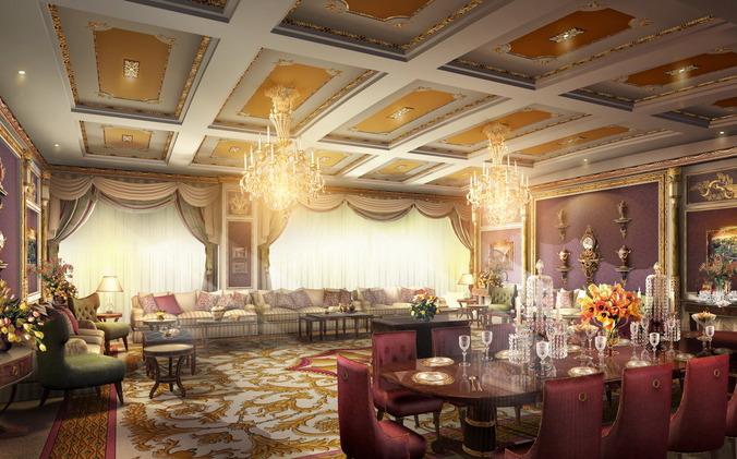 luxury suite with aristocratic interior 3d model max 3ds 1
