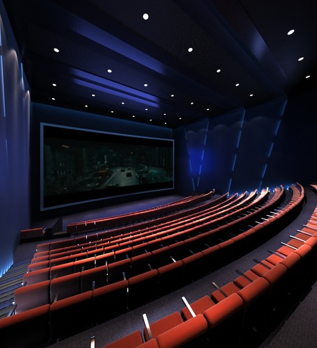 theater with brown seats and blue interior 3d model max obj fbx mtl. Black Bedroom Furniture Sets. Home Design Ideas