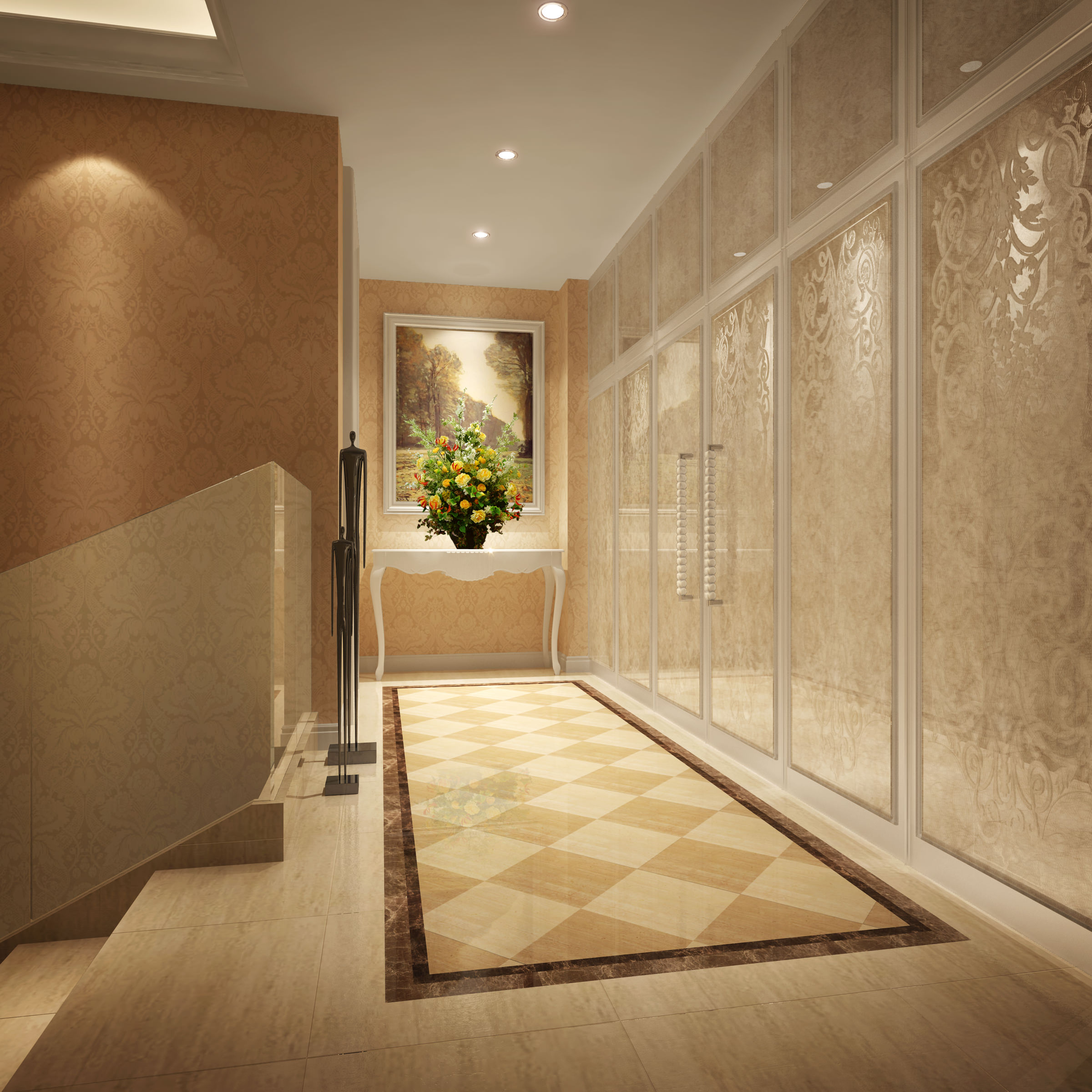 3D model Corridor with Stylish Wall Decor | CGTrader