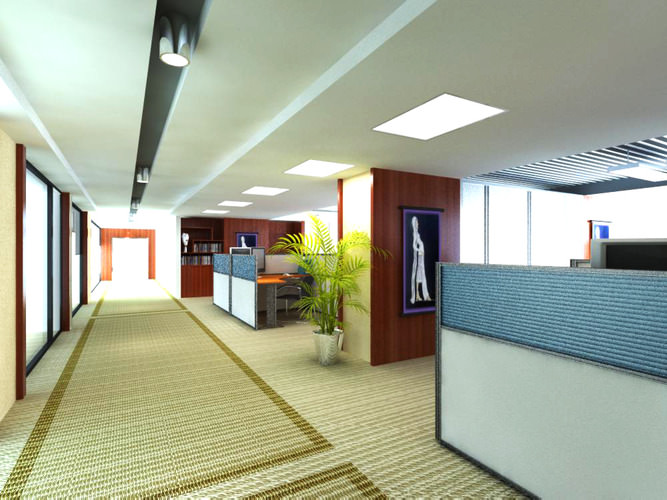 office with decor carpet 3d model max 1