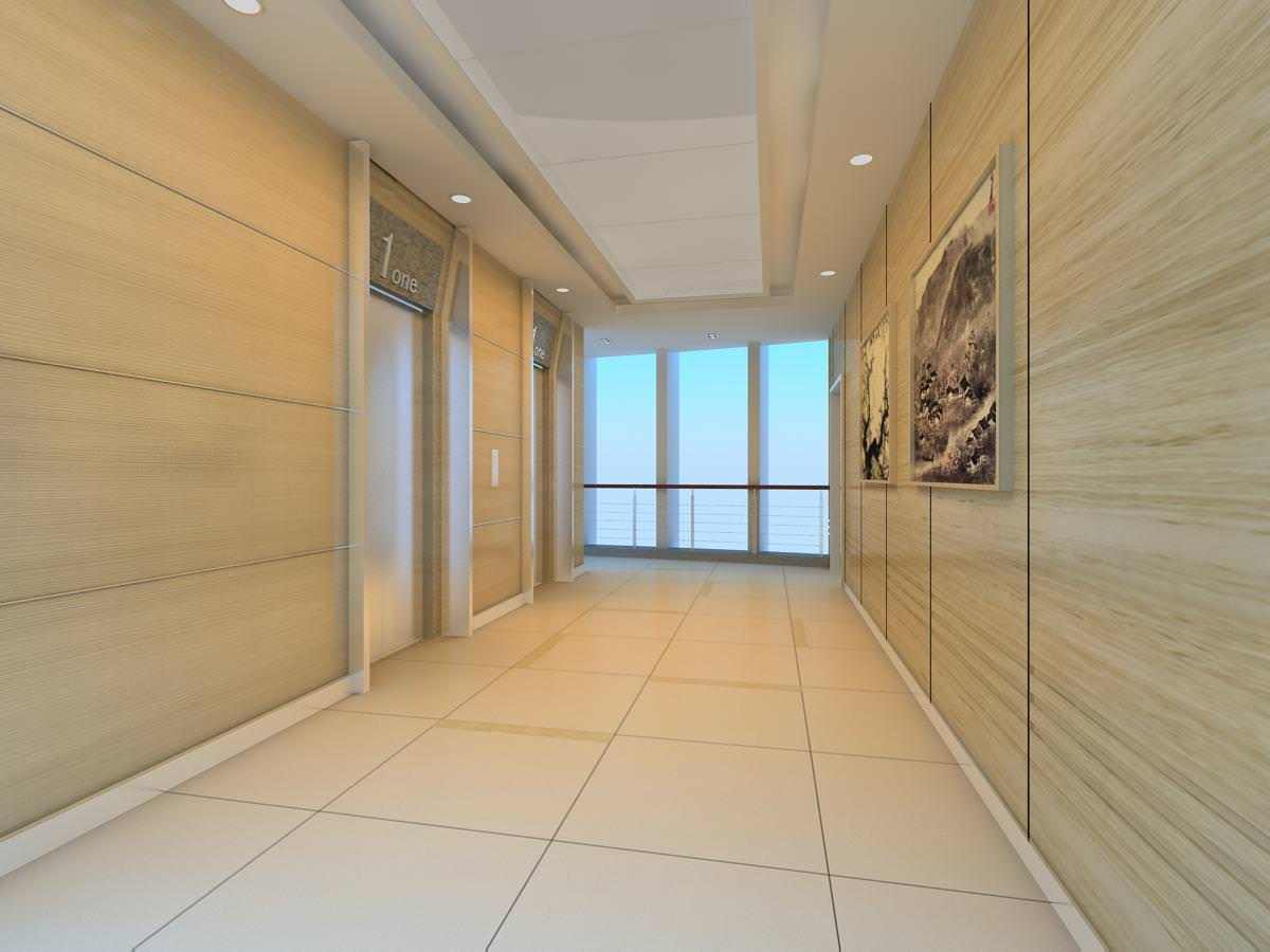 Elevator corridor with wall canvas 3d model max - Schilderij model corridor ...
