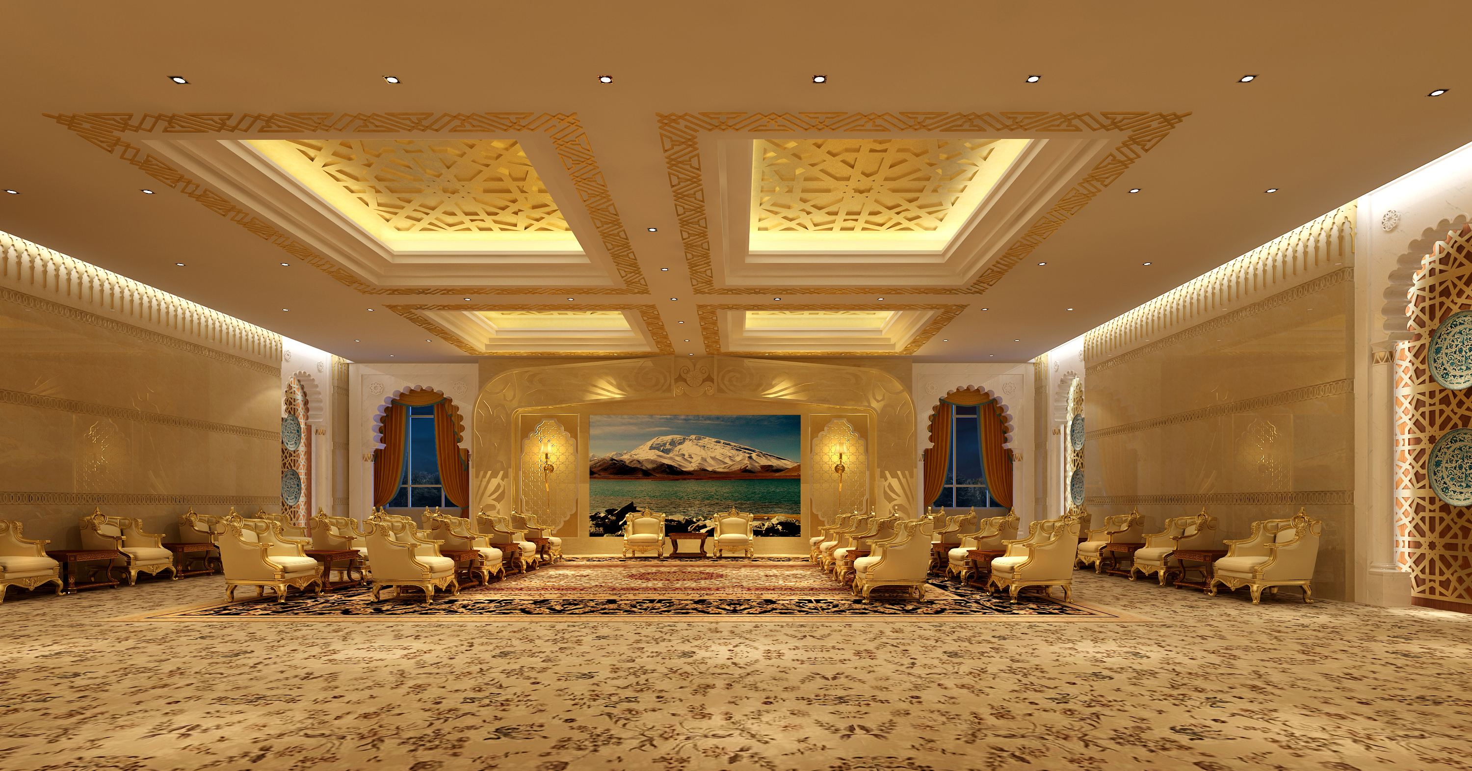 Antechamber with Luxury Carpet and Ceiling 3D model MAX