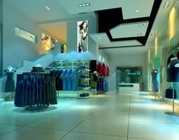 3d fashionable clothing store
