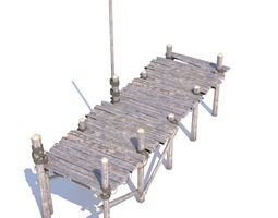 3D model Old wooden bridge