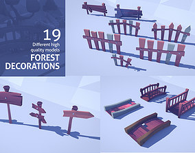 Cartoon Low Poly Forest Decorations 3D model