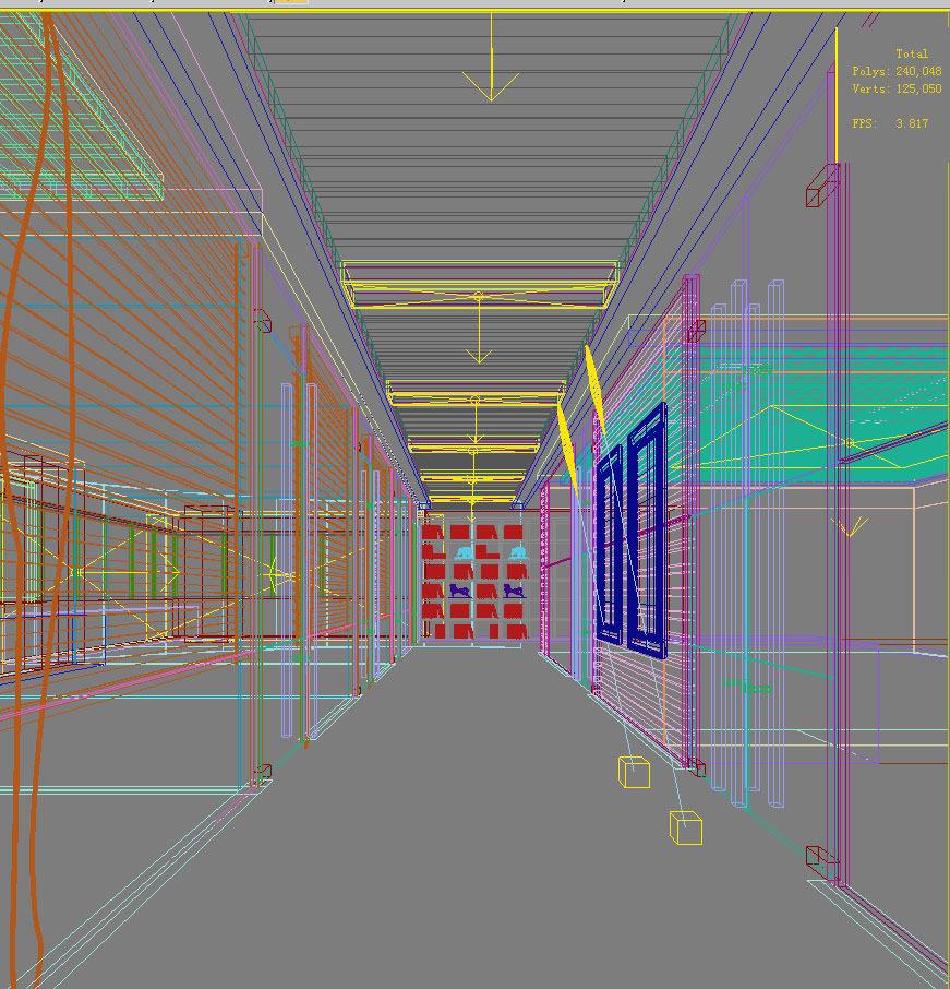 Corridor with shelf and glass interior 3d model max - Schilderij model corridor ...