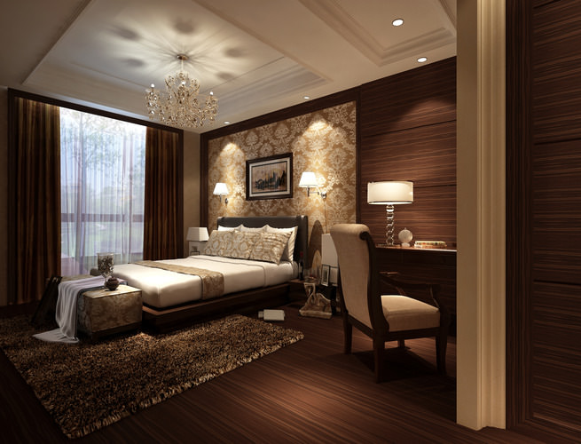 Elegant Bedroom with Classy Chandelier3D model