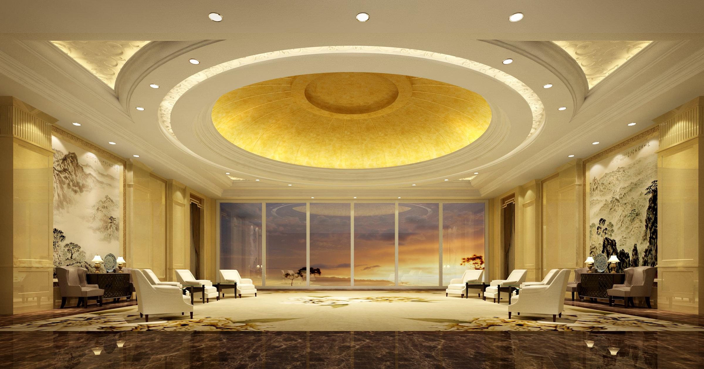 posh antechamber with classy ceiling decor 3d model max