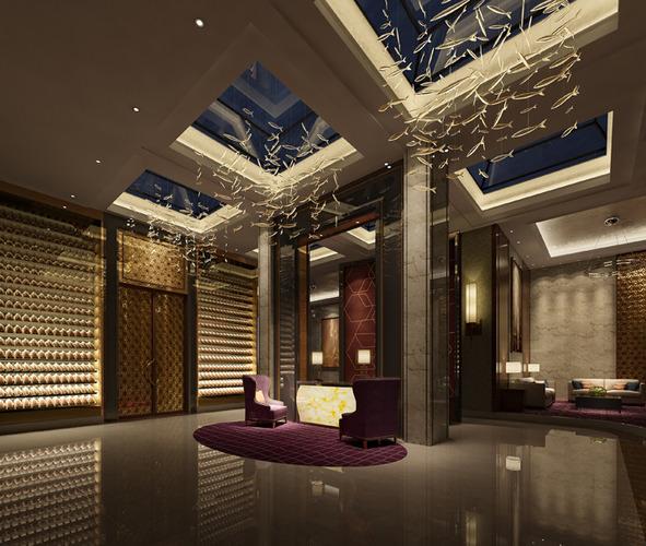 Interior Design Hall And Kitchen: Hallway With Designer Ceiling Chandelier 3D Model MAX