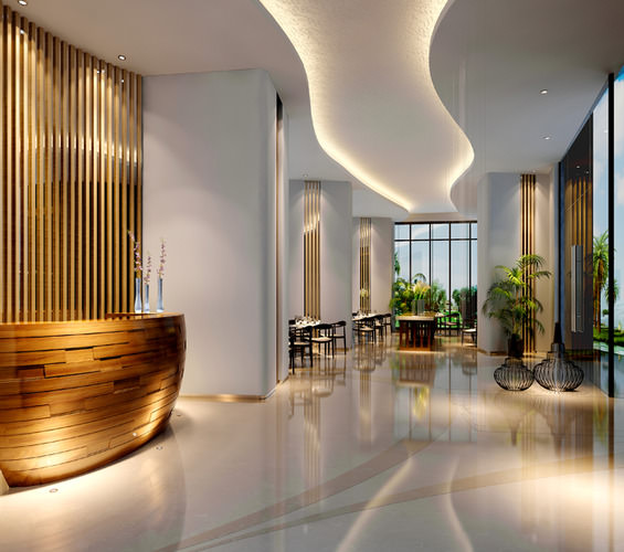 Lobby With Wooden Reception And Fancy Ceiling 3d Model Max